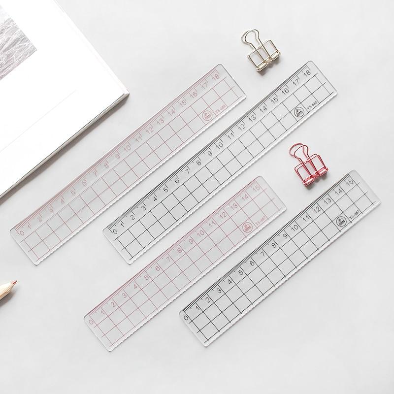 JIANWU 2pcs 15cm 18cm 20cm Transparent Simple Ruler Acrylic Ruler   Learn Stationery Drawing Supplies