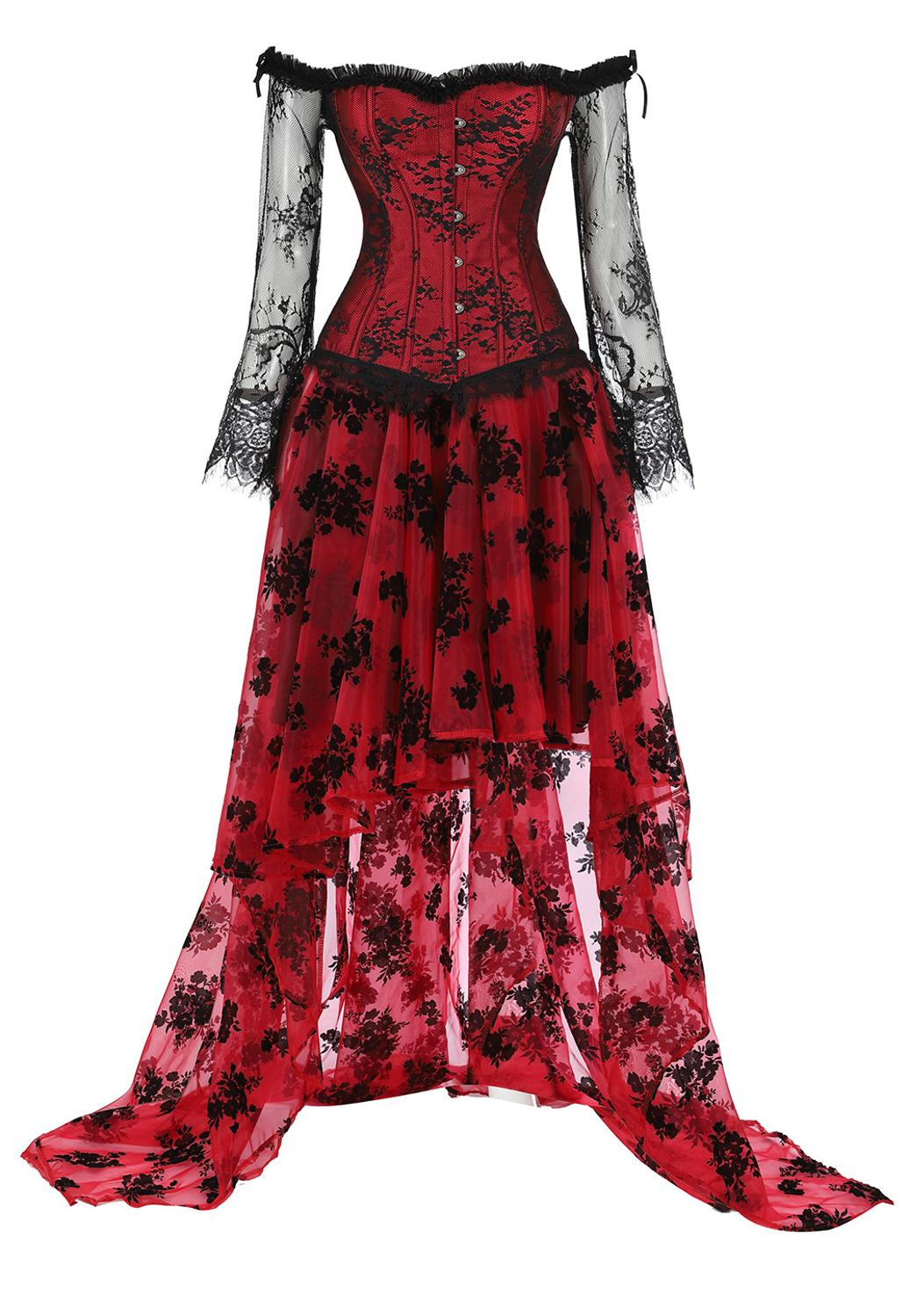 Vintage Steampunk   Corset   Dress Women Victorian Retro Gothic   Corset   Burlesque Lace   Corset   And   Bustiers   Long irregular Skirt Set