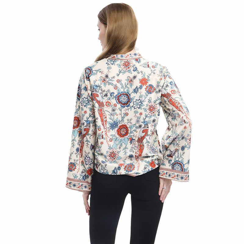 GAOKE Frauen Pfau Druck Boho Bluse Elegante Vintage Langarm Bluse Shirt Frühling Herbst Weiblichen V-ausschnitt Taste Blusa Tops