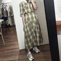 SHENGPALAE 2019 New Autumn Korean Fashion Turn down Collar Vestidos Half Sleeve Patchwork Plaid Chic Women Dress Tide FT471