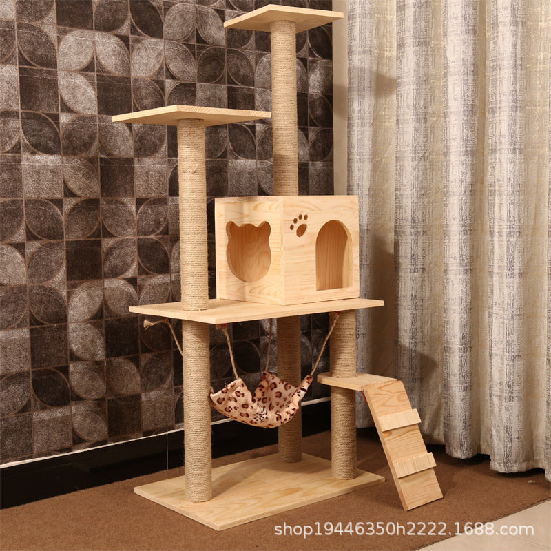 Solid Large size sisal cat scratching post scratching Wood cat tree house pet furniture play house pet supplies dropshipping - 2