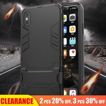 [Clearance] For iPhone XR Case Full Shockproof Luxury Armor Matte Protective Back Cover 5S SE 7 8 Plus Bracket