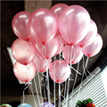 100 шт. 10 дюймов на день рождения воздушные шары шарики воздушных шаров из латекса, цвет: розовый, золотистый; Жемчуг Свадебная вечеринка шар ...