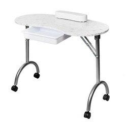 MESA DE MANICURA portátil MDF con reposabrazos y cajón salón Spa Nail Equipment blanco