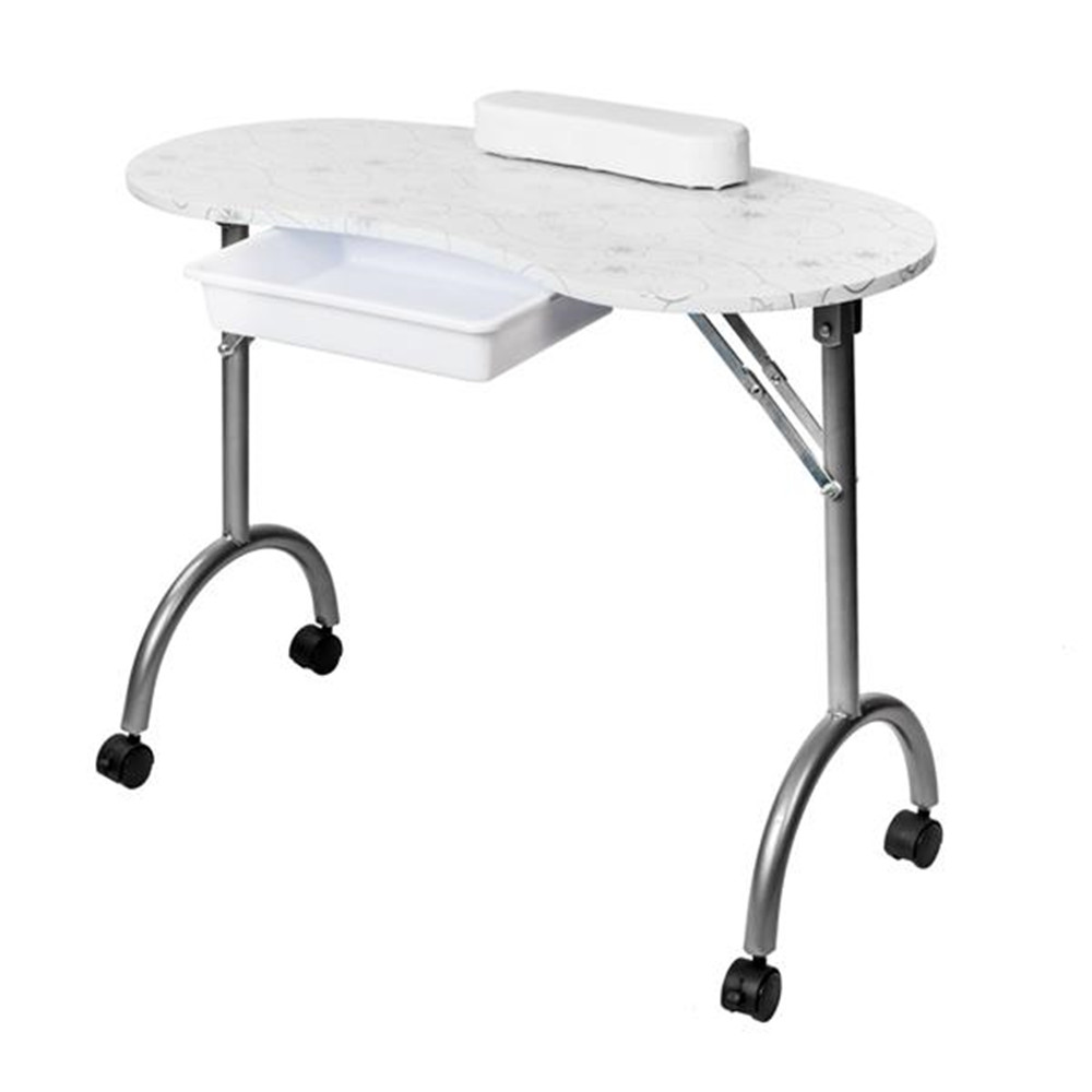 Portable MDF Manicure Table with Arm Rest & Drawer Salon Spa Nail Equipment White
