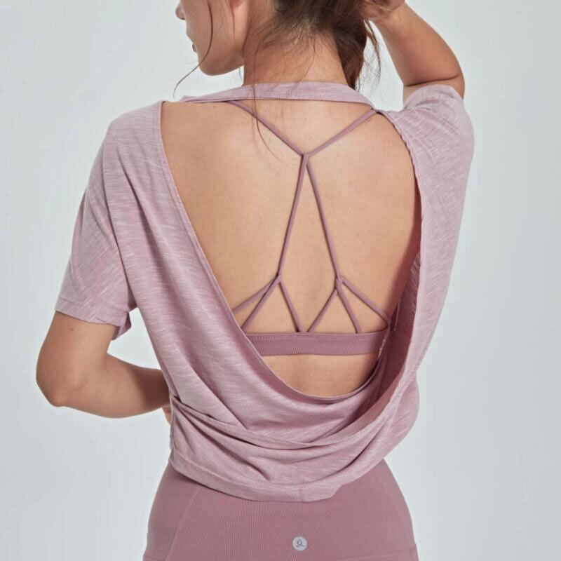 camisa esportiva solta com costas abertas, suave, para academia