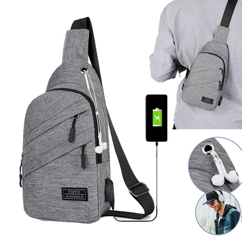 Shoulder-Bag Diagonal-Bag Usb-Charging Outdoor Korean-Version Waterproof Men's Casual