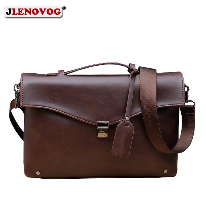 Crazy Horse Leather Briefcase Business Computer/Laptop Bag For Men Vintage Handbag Male Messenger Shoulder Bags Office Tote Bag