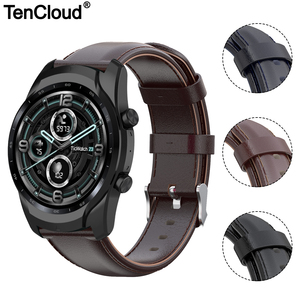Image 1 - Genuine Leather Band For Ticwatch Pro 3 GPS 4G/LTE Watch Strap For Ticwatch Pro 2020/GTX/E2/S2 Replacement Bracelet High Quality
