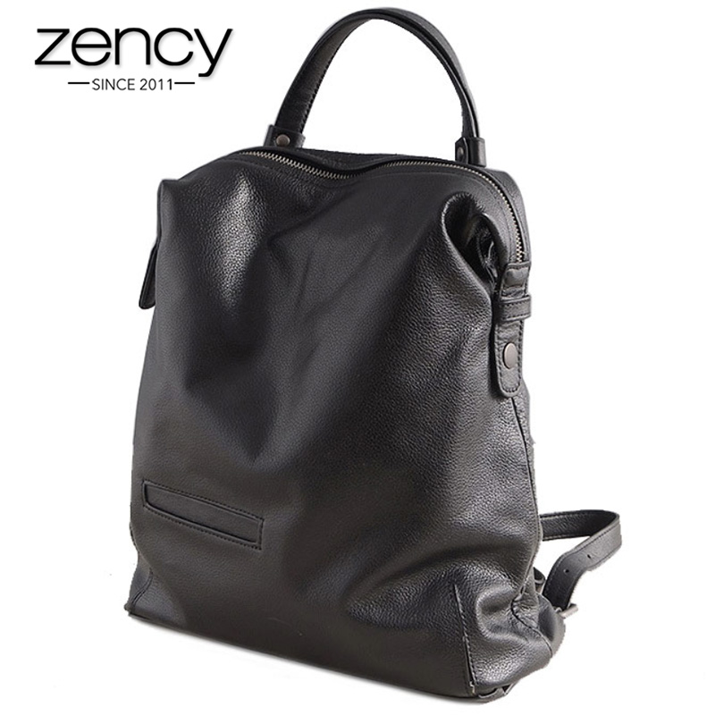 Zency Black Fashion Women Backpack 100% Real Cow Genuine Leather Schoolbag For Girl Female Travel Bag Large Laptop Knapsack