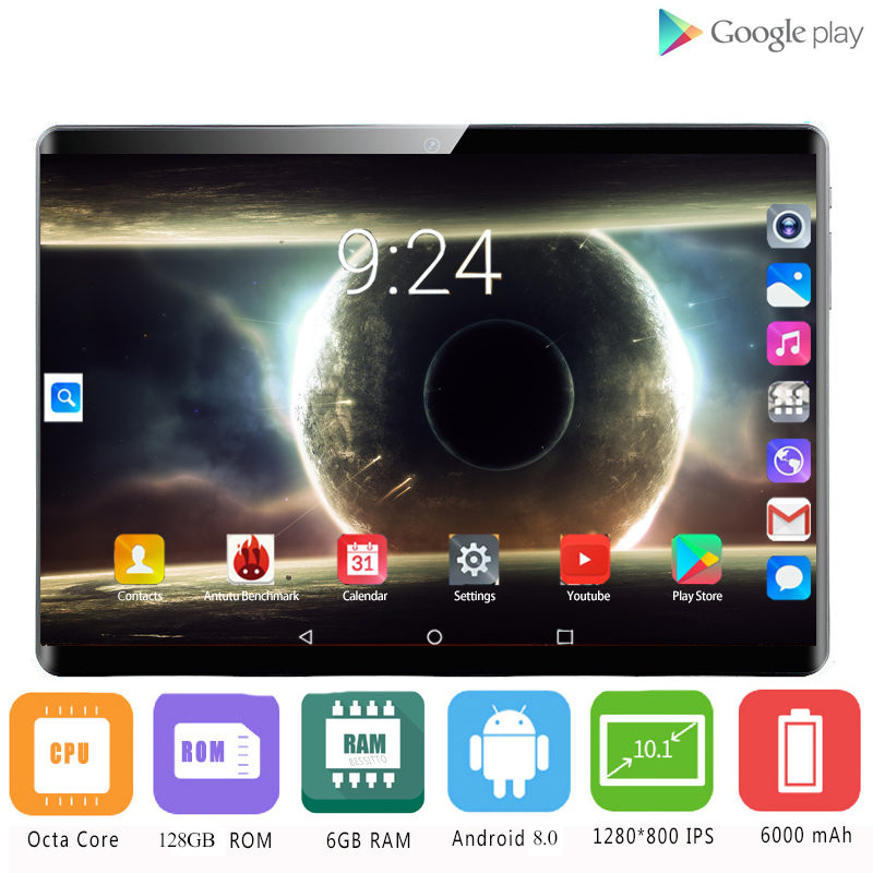 2020 Multi-touch Glass Screen 10.1 Inch Tablet Octa Core 4G FDD LTE Tablet 6GB RAM 128GB ROM Dual Cameras Android 8.0 Tablet 10