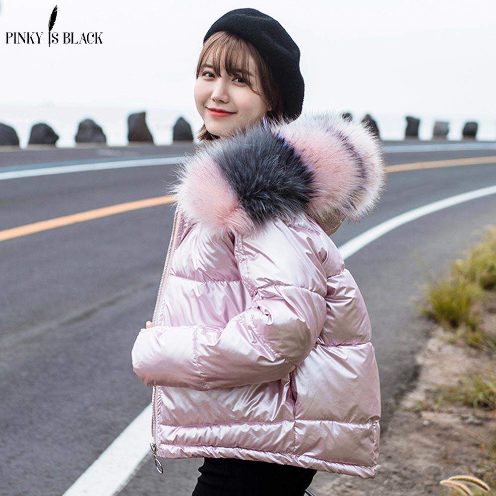 PinkyIsBlack Women Winter   Parkas   Jacket Coat 2019 New Glossy Warm Women Fur Hooded Coat Short Cotton Padded Winter Jacket Women
