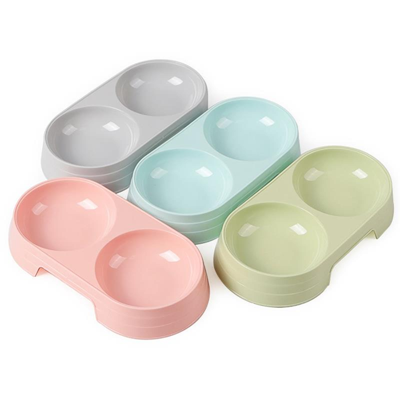 2 In 1 Pet Double Bowls Creative Candy Color Plastic Bowl Pet Food Water Feeder Dog Cat Bowl Pet Feeding Supplies