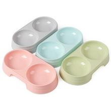 Pet-Feeding-Supplies Bowl Water-Feeder Pet-Food Dog Plastic Double for 2-In-1 Candy-Color