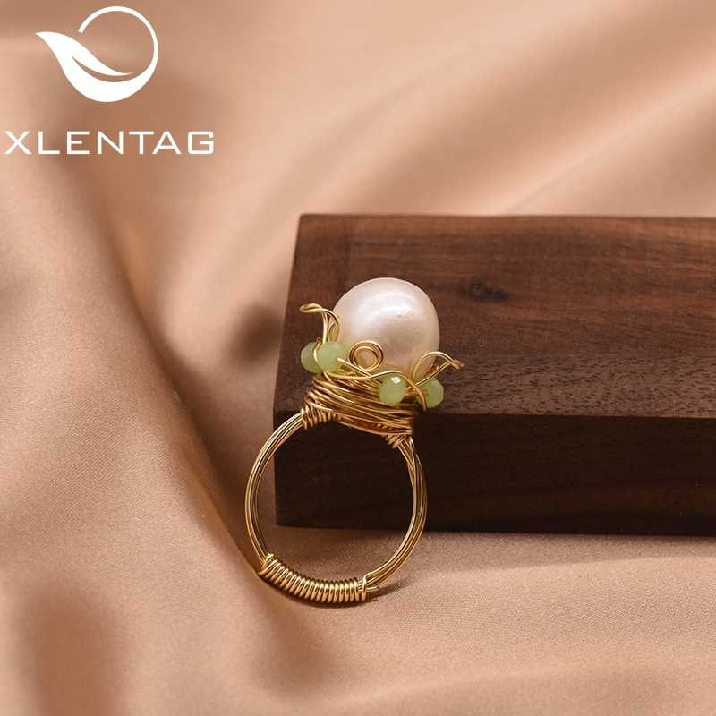 XlentAg Geometric Natural Fresh Water Pearl Round Ring Minimalism For Women Lovers' Wedding Engagement Female Accessories GR0249
