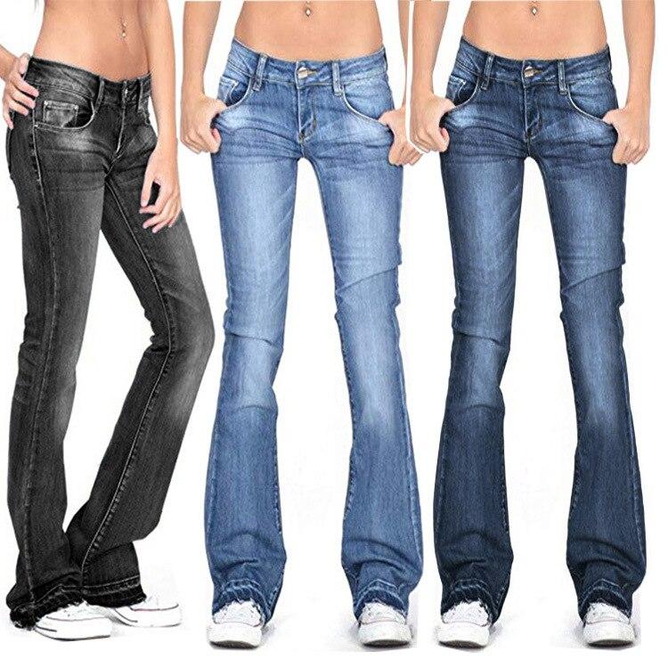 Women Flare Jeans 2019 Autumn Winter Streetwear Button High Waist Elastic Wide Leg Long Denim Pants Plus Size