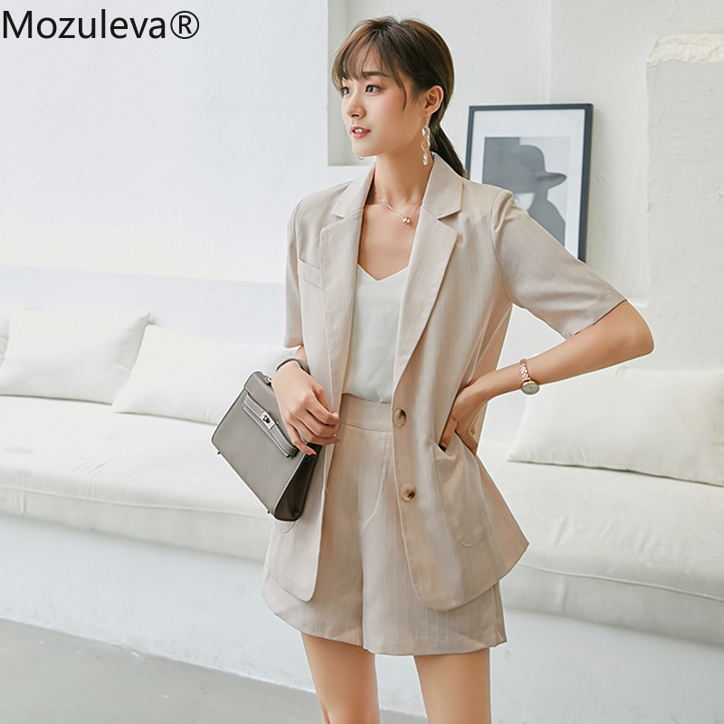 Mozuleva Cotton & Linen Women Striped Pant Suits Single Breasted Pockets Blazer Jacket & Hot Shorts Summer Female 2 Pieces Set