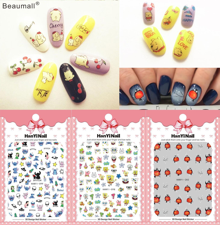 Милые Мультяшные наклейки для ногтей, наклейки для маникюра, наклейки для ногтей Стикеры и наклейки    - AliExpress