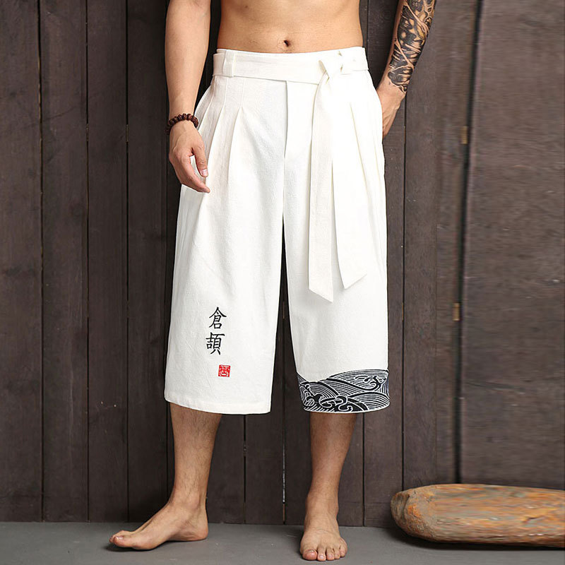 Chinese-style Pants Flax Capri Pants Men's Antique Style Casual Loose Pants Loose-Fit Shorts Cotton Linen Embroidered Large Trun