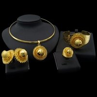 Yulaili Fashion African Nigeria Ethiopian Jewelry Sets Charm Pendant Choker Earrings Bangles Ring for Women Wedding Jewellery