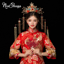 NiuShuya Vintage Chinese Style Classical Jewelry Traditional Bridal Headdress Wedding Hair Accessory Gilding Coronet Headwear himstory luxurious vintage chinese traditional wedding jewelry adorn queen tibetan style pageant phoneix coronet tiaras