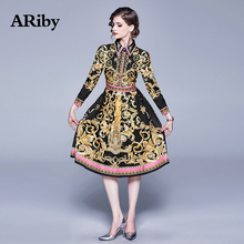 ARiby Women Vintage A-Line Printing Dress 2019 Early Autumn New Fashion Temperament Full Sleeve Empire Turn-down Collar