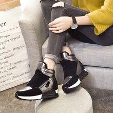 Женские высокие повседневные кроссовки; обувь на танкетке со скрытым каблуком; обувь на платформе, визуально увеличивающая рост; зимние ботинки на плоской подошве; Теплая обувь на меху; LL-18