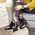 Женские повседневные кроссовки с высоким берцем  зимние ботинки на танкетке со скрытым каблуком и на платформе  увеличивающие рост  теплые ...