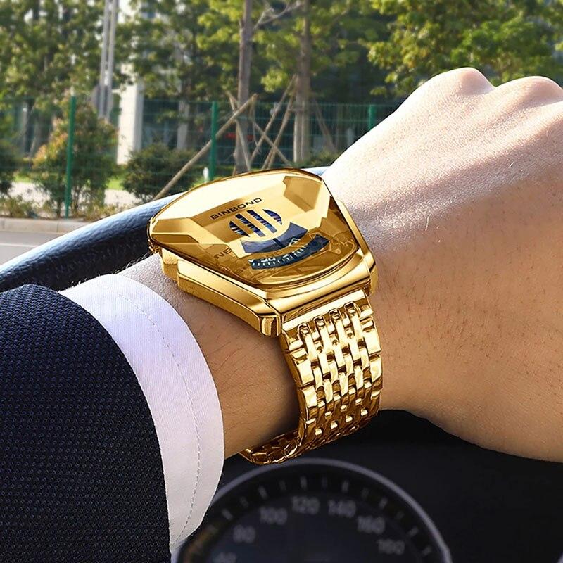 BINBOND 2020 new Gold wrist watch For Men male black technology waterproof student locomotive trend men's casual quartz watch 5