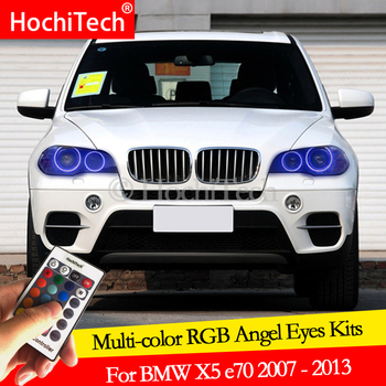 For BMW X5 e70 2007-2013 daytime running light DRL Angel Eyes LED RGB Multi-color Headlight Halo Ring kit image