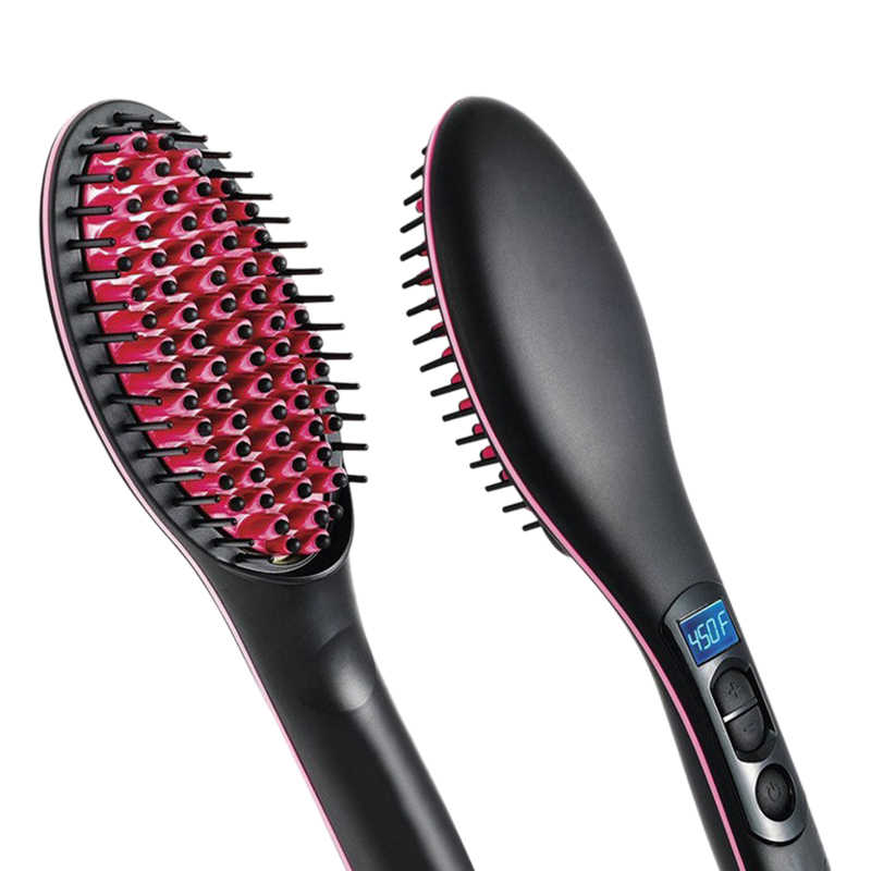 Portable Size Handheld Hair Straight Electric Brush Professional Lcd Display Fast Hair Straightener Comb Us Plug