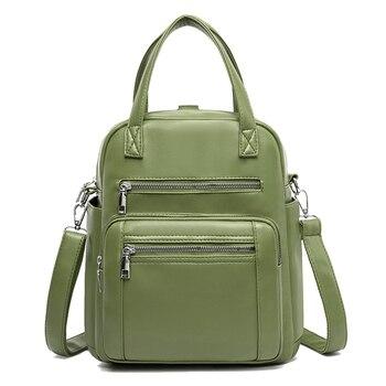Women Backpack PU Leather Handbag Multifunction School Bag Multi Pocket Candy Shoulder Fashion Designer Luxury Famous Brand Soft