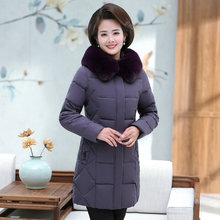 Winter Women Puffer Basic Coats Black Red Purple Red Puff Parkas Fur Collar Hood Quilted Jackets Woman Casual Warm Pad Overcoat elderly women puffer jackets withe fur hood parka grandmother winter warm quilted basic coats floral printing quilted puff coat