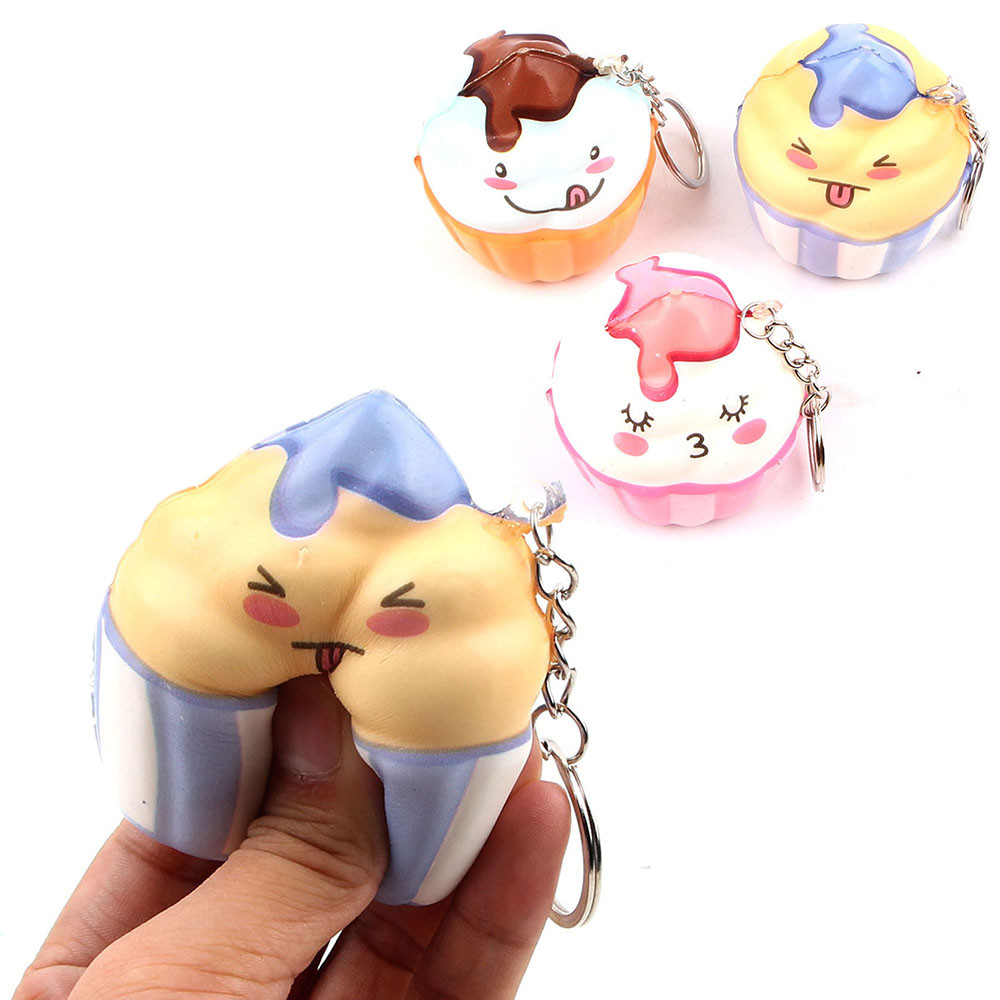 Squishy Cute Ice Cream Stress Reliever Keychain Scented Slow Rising Toy Decompression Juguetes Kids Toys Brinquedos игрушки