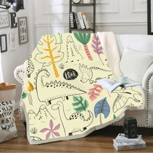 Cartoon Plush ThrowBlanket 3D Cute Dinosaur PrintSuper Soft Coral Fleece Blanket for Beds Sofa Room Decoration Animal Series
