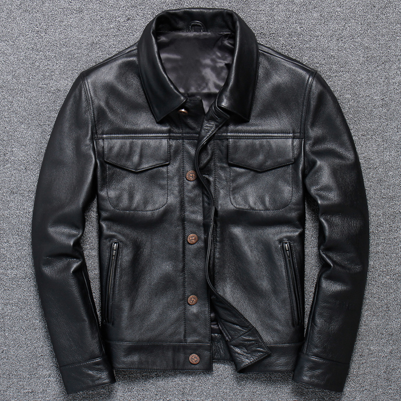Free Shipping.Sale New Style Mens Leather Clothes,casual Cowhide Jacket,black Genuine Leather Coat.homme Slim Sales