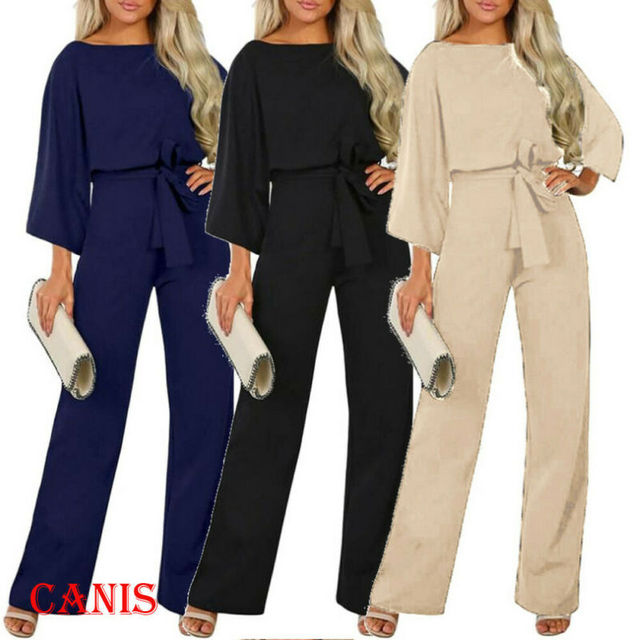 2019 New Women Female Fashion High Waist Long Sleeve Jumpsuit Autumn Cotton Long Sleeve Casual Loose Romper Trousers Ladies Pant 2