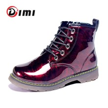 DIMI 2020 New Kids Boots Shoes Fashion Mirror Bright PU Leather Waterproof Children Martin Boots Ankle Rubber Boots For Boy Girl