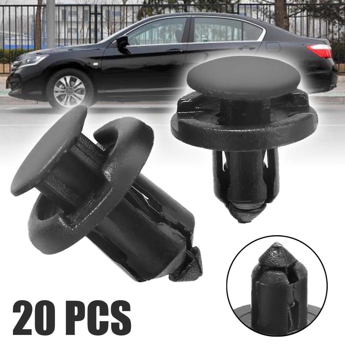 Mayitr Clip de fixation et Clips Auto | Dispositif de retenue en plastique noir, 8mm et 10mm pour Honda Civic Accord, 20 pièces