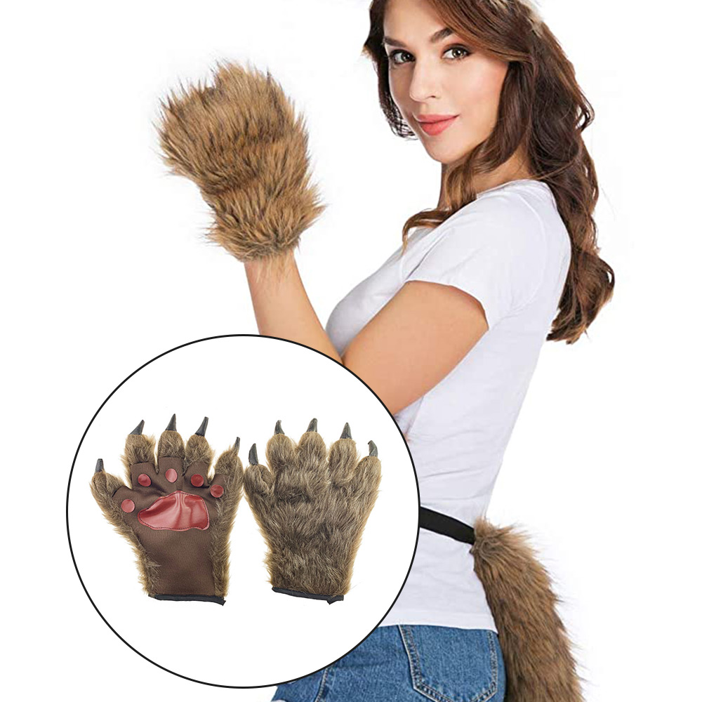 New 2pcs Wolf Claw Glove Half-Finger Furry Wolf Claw Costume For Costume Party Cosplay Halloween Decoration