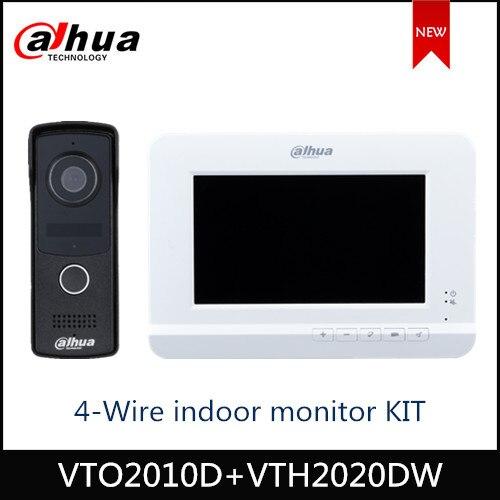 Dahua 4-Wire Video Intercom & Voice intercom KIT 7 inch TFT display 2MP CMOS Camera Night Vision Voice indicator Video Doorbell
