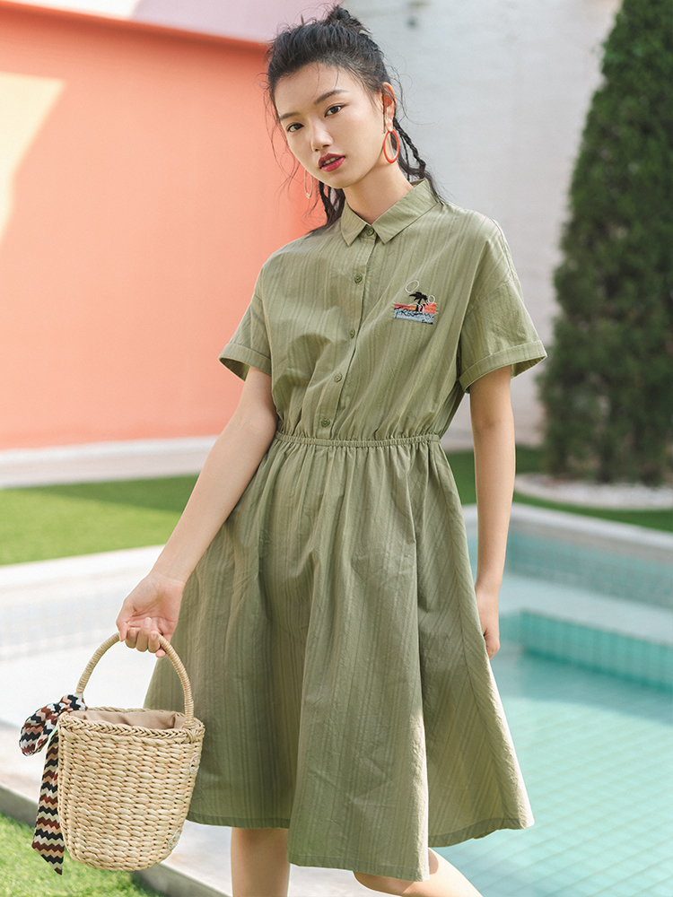 INMAN 2020 Summer New Arrival Lapel Dropped Shoulder Sleeve Elastic Waist Embroidered A-line Dress