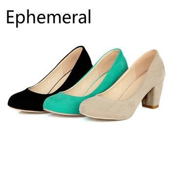 цена на Lady Nubuck Leather Pumps Square Heel Round Toe Wide Fits Plus Size Shoes 47-34 46 Green Beige Black OL High Heels Shoes Elegant