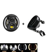 7'' led Projector headlights H4 Driving lights 7 inch Housing bucket DRL Amber Turn Signal Lights Motorcycle for headlamp(China)