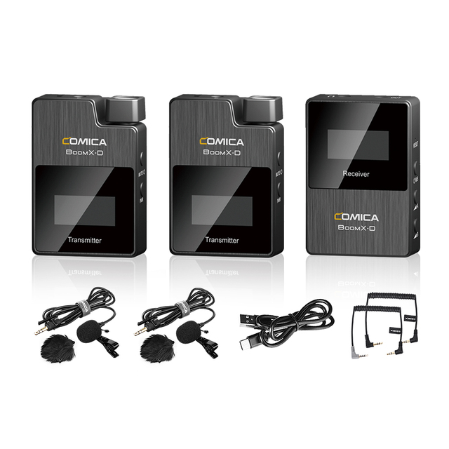 COMICA BoomX D2 מקצועי מיני 2.4G הדיגיטלי אלחוטי מיקרופון עם מונו/סטריאו להחלפה מצבי פלט עבור מצלמה