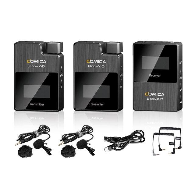 Comica boomx d2 profissional mini 2.4g microfone sem fio digital com mono/estéreo modos de saída comutável para câmera