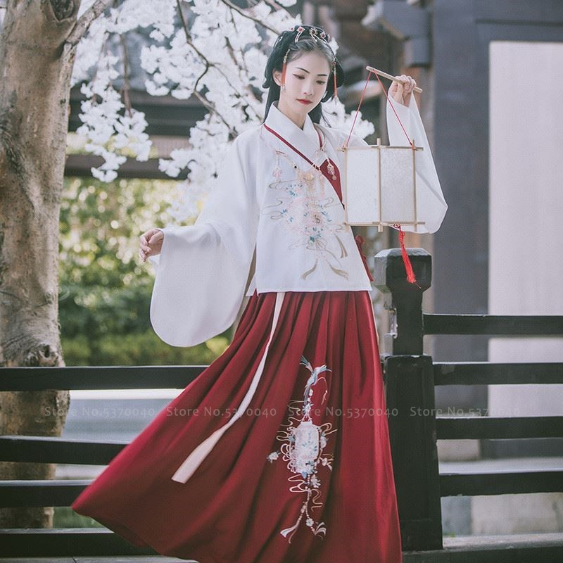 Women Hanfu Robe Skirt Chinese Traditional Tang Suit Folk Dance Stage Costume Ancient Missy Fairy Dress Performance Clothing Set