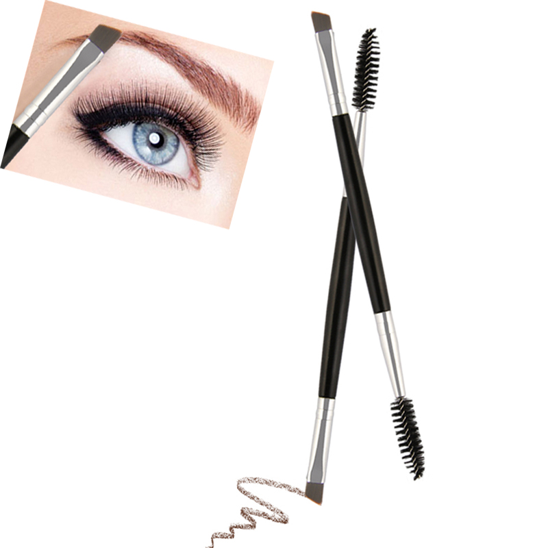 Cheap Makeup Brushes Duo Brow Makeup Brush Wood Handle Double Sided Eyebrow Flat Angled Brushes Wholesale Pinceaux Maquillage