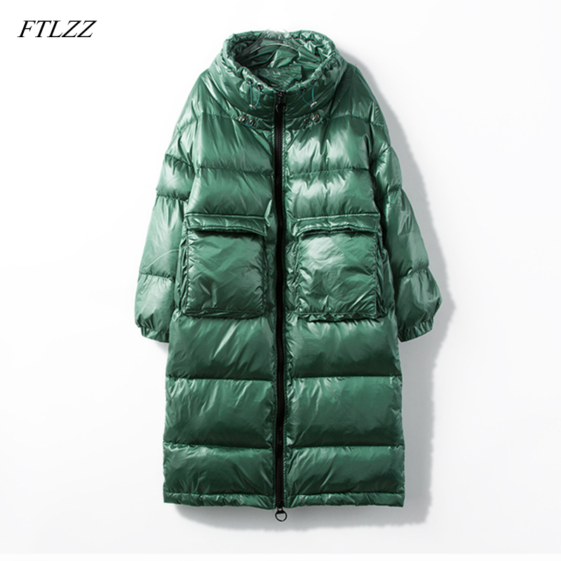 FTLZZ New Women Long Down Coat Winter White Duck Down Parkas Stand Collar Outwear Zipper Big Pocket Jacket Warm Coat