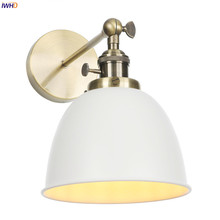 IWHD Loft Decor Antique Vintage Wall Lamp Bedroom Bathroom Mirror Light American Country Industrial Wall Lights Fixtures LED